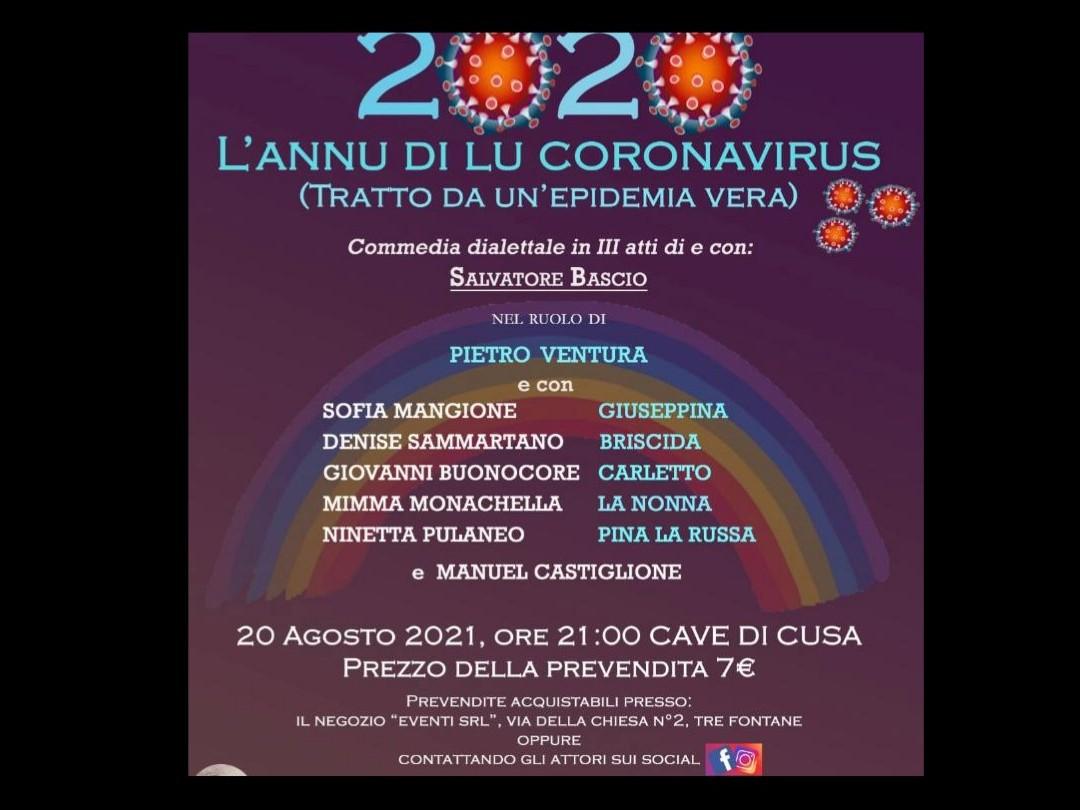 """Immagine articolo: Venerdì 20 Agosto presso le Cave di Cusa va in scena lo spettacolo """"2020. L'annu di lu Coronavirus"""""""