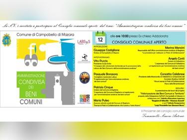 """Immagine articolo: Campobello, consiglio comunale aperto su """"amministrazione condivisa dei beni comuni"""", venerdì nell'ex Chiesa dell'Addolorata"""